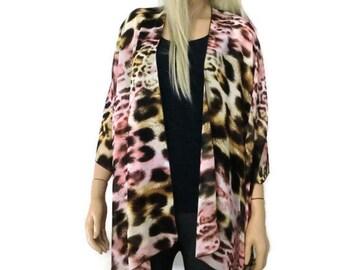 Leopard/cheetah-Rose quartz Pink blond  Kimono Cardigan-Sheer kimono jacket/Ruana -summer collection