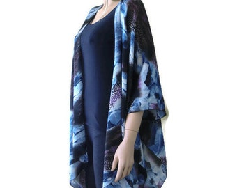 Blue,brown,purple Kimono abstract print Thicker weight for cooler days and nights- Satin like