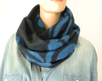Blanket cowl infinity scarf-cobalt blue-black-Tribal-rustic Reversible unisex winter cowl with fringes-soft cobalt and black