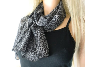 Leopard chiffon scarf-Charcoal/Black and gray- Long snow leopard  chiffon scarf