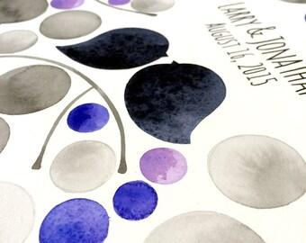Valentine's Watercolor Guest Book Album Tree - Modern minimalist guestbook album with watercolor painted hardcovers Metal binding rings