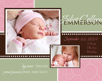 Digital File Print it Yourself/Baby Birth Announcements/you can change the colors/Juliet or Ashton design