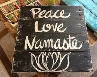 Peace Love Namaste wood pallet sign Wall Art Home Decor