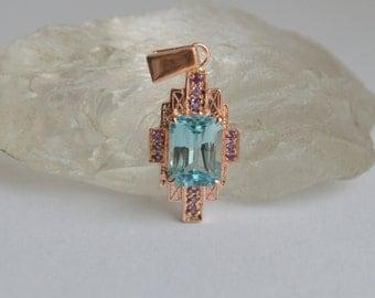 Art Deco Rose Gold Pendant, art deco necklace, gemstone necklace, zircon jewelry, blue gemstone pendant, rose gold necklace, Gotham pendant