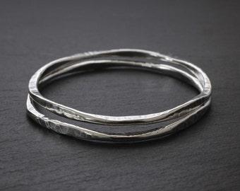 Sterling Bangle - Silver Bracelet - Hammered Silver Bracelet - Sterling Silver Bangle Bracelet - Eternity Bangle - Large, Medium, & Small