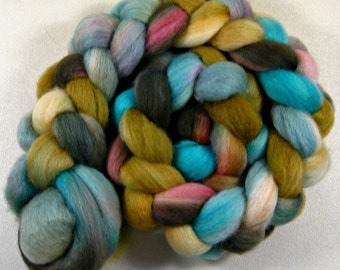 Golden Turquoise 2 Bluefaced Leicester wool top for spinning and felting (4.3 ounces)