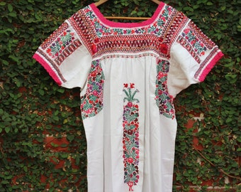 White with Multi colored  embroidery Mexican Wedding dress Deshilado