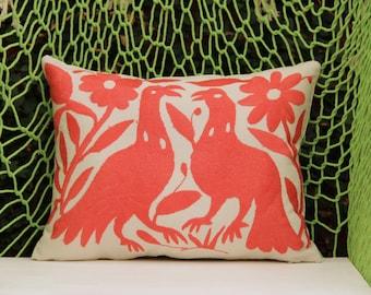 Coral  Folk Art Pillow Sham-Otomi Embroidery Ready to ship.
