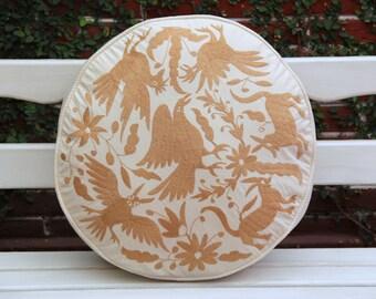 Round Beige Tan Pouf  Floor Cushion
