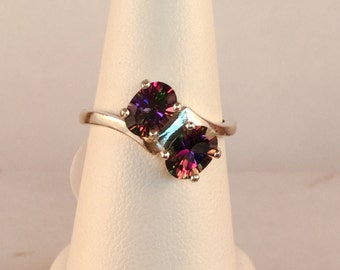 Mystic Topaz Bypass Ring in Sterling Silver