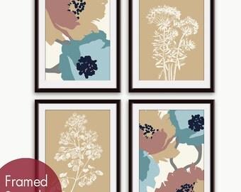 Flower and Geometric Patterns (Series C) Set of 4 - Art Prints (Blue and Tan Scheme) Botanical Art Print