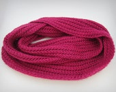 Pink Infinity scarf, silky merino wool and bamboo knit scarf