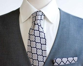 Necktie, Neckties, Mens Necktie, Neck Tie, Mens Necktie, Groomsmen Necktie, Ties, Tie, Groomsmen Gift, Wedding Neckties - Grey Lattice