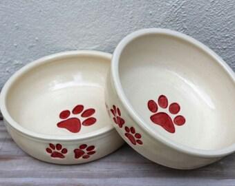 Dog Bowl. Pet Bowl. Dog Bowls. Set. Dish. Dog. Pet. Pet Bowls. New Puppy. New Dog. Handmade. Ceramic. Colorful. Unique. Big Dog Pots Pottery