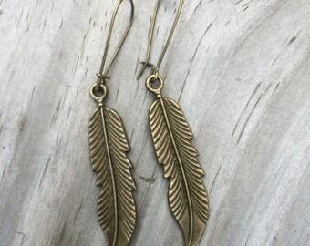 solid brass feather earrings