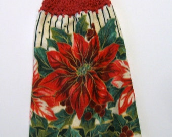 Poinsettia, Hanging Towel, Kitchen supplies, Hostess Gift, Handmade by NormasTreasures