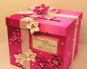 Wedding Card Box Hot Pink and White Gift Card Box Money Box Holder-Customize your color