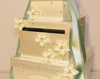 Wedding Card Box Ivory and Mint Green Gift Card Box Money Card Box Holder-Customize Your Color