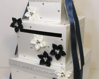 Wedding Card Box Ivory and Navy Blue  Gift Card Box Money Box Holder-Customize your color