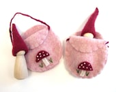Pink and Magenta Toadstool Gnome, Waldorf Wooden Toy