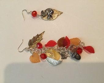 Squirrel and acorn duster earrings, unmatching earrings , fall earrings