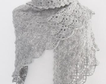 Grey Bridal CASHMERE Mohair shawl-Ready to ship