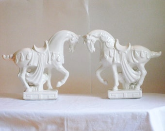 Pair of Vintage Chinese War Horses, White Ceramic Horse Figurine Statue, Mid Century Asian Pottery Sculpture, One AS IS