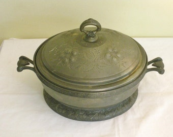 Vintage Antique Quadruple Plate Casserole with Lid, Tarnished Silver Plate Serving Dish, Victorian Era Dining Entertaining
