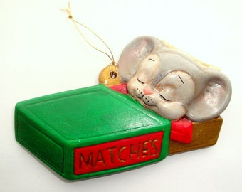 Vintage Mouse Christmas Ornament, Sleeping in Match Box, Holiday Decor, Kitsch Decoration, Retro  (23-16)