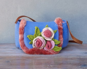 Knitted Felted Wool Bag Kitsch Shabby Chic Rose Floral Purse