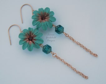 Turquoise Daisy earrings, turquoise earrings, verdigris earrings, bronze earrings, daisy earrings, nature inspired