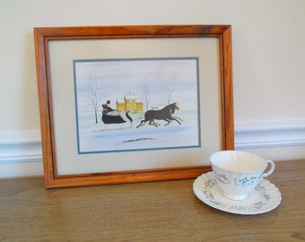 Vintage Horses and Carriage Print, Artwork, Picture, Framed Art, Folk Art, Amish, Mennonite, Horse and Sleigh, Winter, Snow, John Matassa