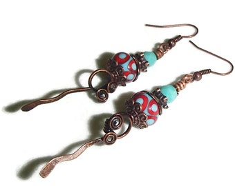 Copper Artisan Lampwork Earrings Long Dangle Earring Boho Lampwork and Copper Earrings