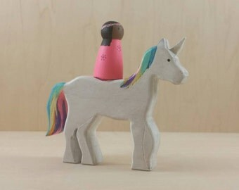 Ride on unicorn, princess unicorn, rainbow unicorn, customizable toy, wooden unicorn, wood toys, Waldorf unicorn, painted unicorn