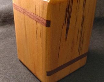 Rustic Birch Pencil Cup with Walnut Inlay