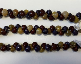 Autumn Unicorne Boro Teardrops, 25 Beads per Strand,  Autumn Mix Teardrop Beads