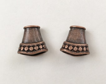 Antique Copper Cord Ends,  End Caps, Flattened Cone Shaped Cord Ends, Kumihimo Cord Ends