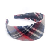 SALE Extra Wide Tartan Plaid Headband - Preppy - Big girl headband, adult plaid headband - Back to school tartan plaid - School Uniform H...