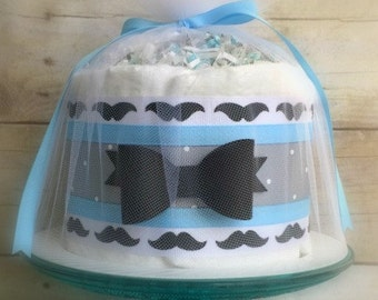 The Baby Stache Mini Diaper Cake