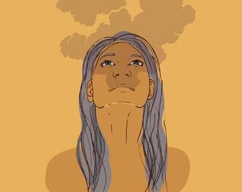 Smoke Print Illustration Wall Art