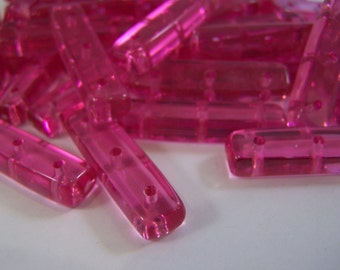 FREE SHIPPING - 16 pcs. Transparent Fuchsia Spacer Acrylic Beads (#1332)