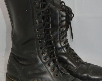 Vintage DR. MARTENS Tall Black Leather Boots Original Made in England Shoes doc
