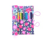 Pencil Case - Fun Floral - JANUARY INDEPENDENT ARTIST flower pencil roll, Bible Journaling, adult coloring, colored pencil holder
