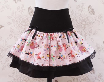 Pink and black  Alice in wonderland kawaii skirt