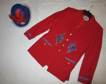 Ringmaster circus lion tamer costume womens size 14 red jacket top hat Halloween costume Restyledcostume unique carnival Ring Master