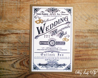100 vintage halloween wedding invitations with masquerade masks by my lady dye - Masquerade Wedding Invitations