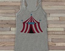 Circus Tank - Ladies Carnival Top - Circus Tent Tank Top - Grey Tank Top - Womens Shirt - Carnival Birthday Party Outfit - Carnival Party