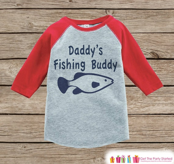 a9ed0db5371e Boys Fishing Shirt - Daddy s Fishing Buddy Tshirt - Red Raglan Tee ...
