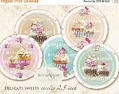 30% OFF SALE - CIRCLES Delicate Sweets - 2,5inch circles - Cupcakes - Shabby chic Circles - Digital Collage CIrcles - pocket mirrors, tags,
