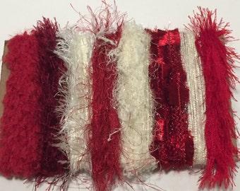 ice yarns SAMPLES fiber art bundle cards RED CREAM shades eyelash polar sparkle angelo lurex metallic  crochet knitting left over yarn scrap